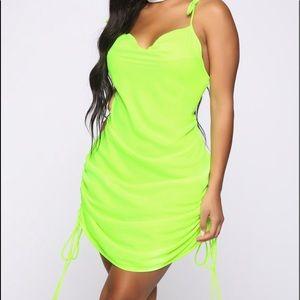 Neon Green FashionNova mini dress